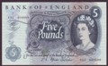 London Coins : A134 : Lot 260 : Five pounds Fforde B312 issued 1967 first series R52 404589 about UNC to UNC
