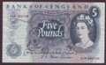 London Coins : A134 : Lot 263 : Five pounds Fforde B315 issued 1967 replacement 03M 585738 good Fine
