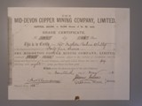 London Coins : A134 : Lot 47 : Great Britain, Mid-Devon Copper Mining Co. Ltd., share certificate, 1881, black,...
