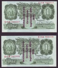 London Coins : A134 : Lot 533 : One Pound Peppiatt overprint pair. B239A. E15A 763357 and E15A 763358. Consecutive numbered pair. On...
