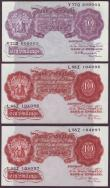 London Coins : A145 : Lot 62 : Ten shillings Peppiatt mauve B251 issued 1940 series Y77D 609903 pressed EF and a consecutive pair B...