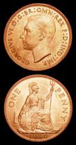 London Coins : A153 : Lot 3131 : Pennies 1940 (2) Single exergue line, Freeman 226 dies 2+B, Double exergue line, Freeman 227 dies 2+...