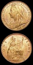 London Coins : A154 : Lot 2382 : Pennies (2) 1900 Freeman 153 dies 1+B, 1901 Freeman 154 dies 1+B both UNC and lustrous