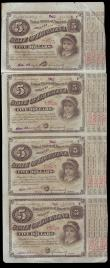London Coins : A155 : Lot 2007 : USA Louisiana $5 Baby Bonds 1870s-1880s on an uncut sheet (4) EF