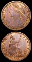 London Coins : A157 : Lot 2924 : Pennies (2) 1874H Freeman 73 dies 7+H EF with traces of lustre, 1874H Freeman 71 VF with mottled ton...