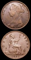 London Coins : A157 : Lot 2929 : Pennies (2) 1881H Freeman 108 dies 11+M A/UNC toned with some contact marks, 1881 Freeman 106 dies 1...