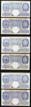 London Coins : A158 : Lot 53 : One Pound Peppiatt (6) B249 blue emergency issue 1940, 3 consecutively numbered pairs, prefixes U92D...