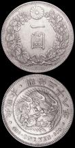 London Coins : A160 : Lot 1168 : Japan Yen (2) Year 13 (1880) Y#A25.2 VF with some spots, scarce, Year 28 (1895) EF toned with a ligh...
