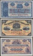 London Coins : A162 : Lot 333 : Scotland (3), a set of 3 early date 1 Pound notes in high grade, Clydesdale Bank Ltd 1 Pound dated 1...