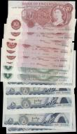 London Coins : A163 : Lot 1336 : Bank of England (17), 10 Shillings signed O'Brien (2), Fforde (6), 1 Pound signed Hollom (2), 5...