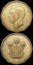 London Coins : A163 : Lot 181 : Mint Errors- Mis-Strikes (2) Brass Threepence George VI largely without legend or date only faint tr...