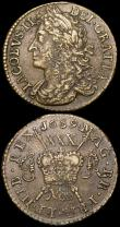 London Coins : A163 : Lot 2489 : Ireland Halfcrowns Gunmoney (2) 1689 Large Size Nov: Timmins TB30F-1B NVF/Good Fine the reverse with...