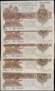 London Coins : A165 : Lot 13 : One Pounds Fisher (5) in mixed grades up to VF comprising T24 First issue 1919 series T9 895158. Sec...