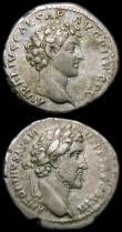 London Coins : A165 : Lot 2035 : Roman Demarii (2) Hadrian (c.134-138AD) Obverse: Laureate head right, HADRIANS AVG COS III PP, Rever...