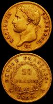 London Coins : A165 : Lot 2154 : France 20 Francs Gold (2) 1807A KM#687.1 Fine, 1809A KM#695.1 Near Fine with an edge nick