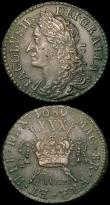 London Coins : A165 : Lot 2201 : Ireland (2) Halfcrown Gunmoney 1689 Mar: Timmins TB30K-1A VF, Sixpence Gunmoney 1689 Feb: Timmins TB...