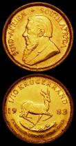 London Coins : A165 : Lot 2274 : South Africa One Tenth Krugerrand (2) 1982 KM#105 NEF, 1983 KM#105 EF cleaned with some scratches