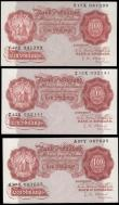 London Coins : A165 : Lot 375 : Ten Shillings (3) O'Brien B271 Red-Brown Threaded issue 1955, series A97Y 087625, Z13X 032141 &...