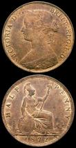 London Coins : A166 : Lot 2978 : Halfpennies (2) 1872 Freeman 309 dies 7+G GEF/AU with traces of lustre, 1873 Freeman 310 dies 7+G NE...