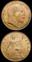 London Coins : A166 : Lot 2998 : Pennies (2) 1901 Freeman 154 dies 1+B AU/GEF with subdued lustre, 1902 Freeman 157 dies 1+B UNC/AU w...
