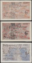 London Coins : A166 : Lot 336 : Jersey Treasury of the States World War II German Occupation Period notes (3) comprising 1 Shilling ...