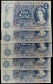 London Coins : A167 : Lot 1373 : Five Pounds Fforde QE2 portrait & seated child Britannia B312 issue 1967 (5) a consecutively num...