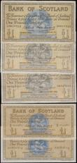 London Coins : A167 : Lot 1597 : Scotland Bank of Scotland 1 Pounds (5) in various grades about VF/VF to about UNC - UNC comprising P...