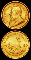 London Coins : A168 : Lot 846 : South Africa 1/10 Krugerrands (2) 1980 and 1982 both Unc