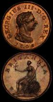 London Coins : A169 : Lot 1351 : Farthing  & Half Farthing  (2)  1806  Peck 1396 UNC with traces of lustre and minor cabinet fric...