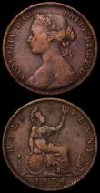 London Coins : A169 : Lot 1606 : Halfpennies (2) 1874 Freeman 317 dies 9+K VG/About Fine, Rare and rated R16 by Freeman, 1861 Freeman...