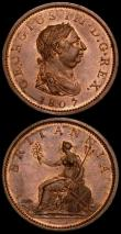 London Coins : A169 : Lot 1666 : Pennies (2) 1806 No incuse curl Peck 1343 EF toned with some thin scratches on the obverse, 1807 Pec...