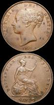 London Coins : A169 : Lot 1678 : Penny 1856 Plain Trident Peck 1510 Good Fine with some tone spots on the obverse, Rare, Farthing 182...