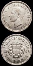 London Coins : A169 : Lot 1782 : Silver Threepences (2) 1943 ESC 2157 GF/NVF, 1944 ESC 2158 NEF with some contact marks
