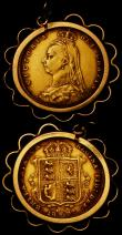 London Coins : A169 : Lot 2051 : Half Sovereign 1892 No J.E.B. Low Shield Fine/Good Fine, in a 9 carat gold decorative mount, total w...