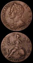 London Coins : A170 : Lot 1853 : Halfpennies (2) 1700 Peck 696 Fine, 1752 Peck 882 Good Fine