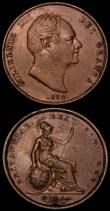 London Coins : A170 : Lot 1934 : Penny 1834 Peck 1459 VF the obverse with signs of die rust, Halfpenny 1837 Small 7 over Large 7 on d...