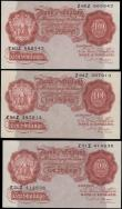 London Coins : A170 : Lot 68 : Ten Shillings Beale B266 Red-brown Britannia medallion issues 1950 (3) all with FIRST series serial ...