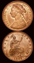 London Coins : A171 : Lot 1558 : Halfpennies (2) 1887 Freeman 358 dies 17+S, 1888 Freeman 359 dies 17+S both UNC with around 75% lust...