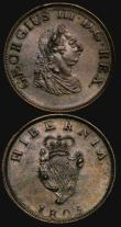 London Coins : A171 : Lot 637 : Ireland (2) Penny 1805 S.6620 NVF with some heavy contact marks, Halfpenny 1805 S.6621 NEF