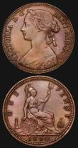 London Coins : A172 : Lot 1118 : Pennies (2) 1860 Beaded Border Freeman 6 dies 1+B GVF/VF once lightly cleaned, now retoned with some...