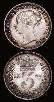 London Coins : A172 : Lot 1479 : Threepences (2) 1871 ESC 2077, Bull 3415 NEF, 1878 ESC 2084, Bull 3422 GEF and nicely toned with som...