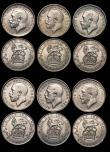 London Coins : A172 : Lot 1619 : Sixpences (12) 1911 ESC 1795, Bull 3871 EF, 1912 ESC 1797, Bull 3873 GEF and attractively toned, 191...