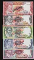 London Coins : A172 : Lot 168 : Swaziland Specimen Set 1974 5 note set with 1,2,5,10,20 Emalangen Pick CS1 Unc in the original envel...