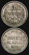 London Coins : A172 : Lot 587 : Germany - Weimar Republic (2) 5 Reichsmarks 1932G KM#56 GVF and scarce with all four of the digits o...